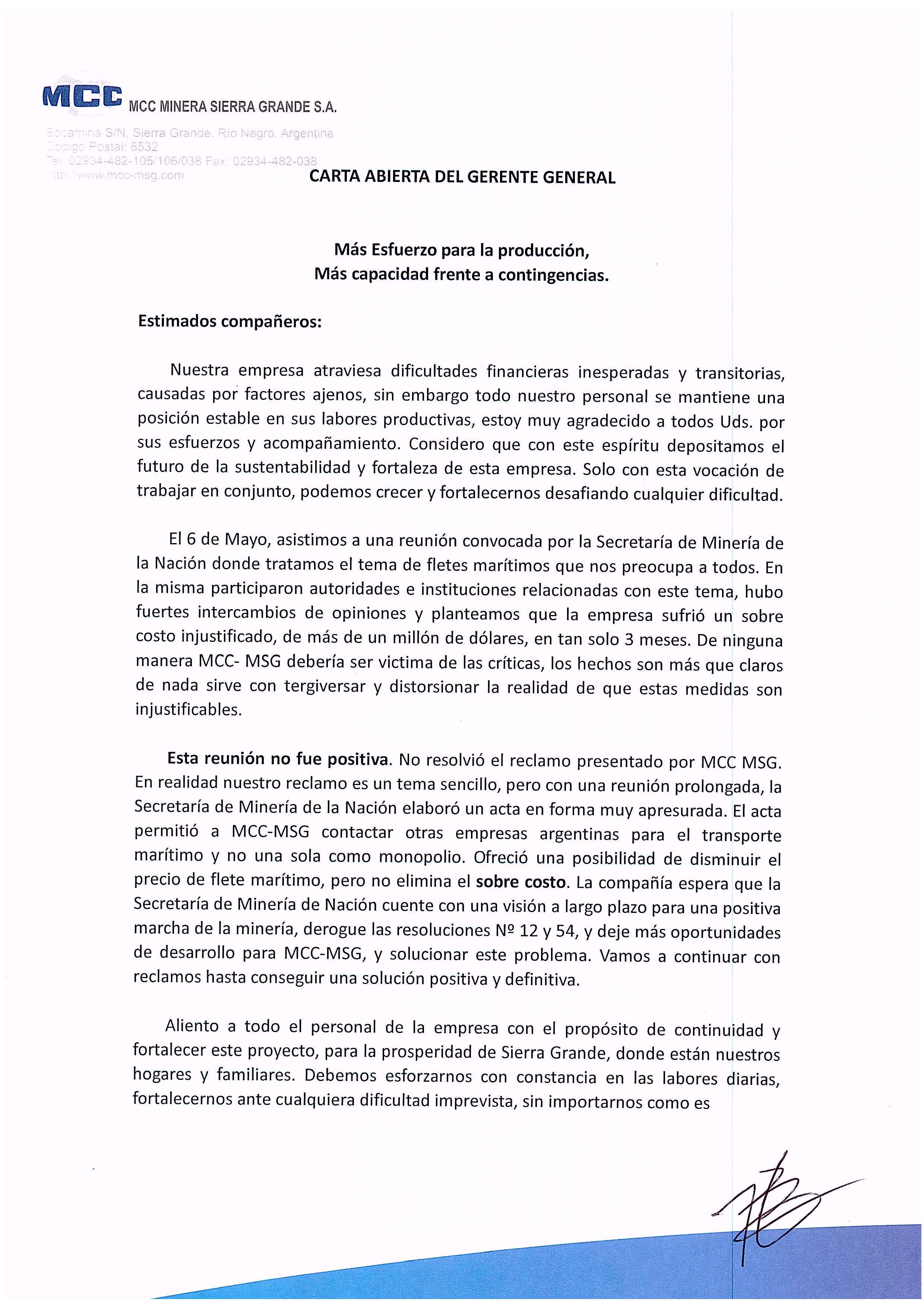 Carta Abierta Gerente General MCC